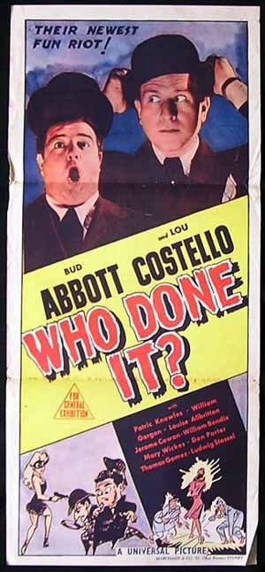 WHO DONE IT Original Daybill Movie poster Abbott and Costello Marchant Graphics