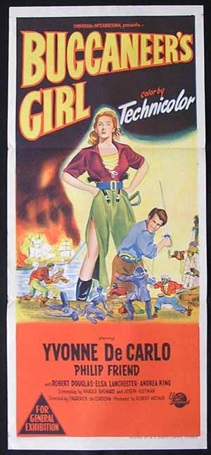 BUCCANEER'S GIRL Daybill Movie Poster 1950 Yvonne DeCarlo