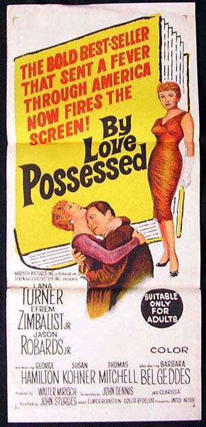 BY LOVE POSSESSED Original Daybill Movie Poster 1961 Lana Turner