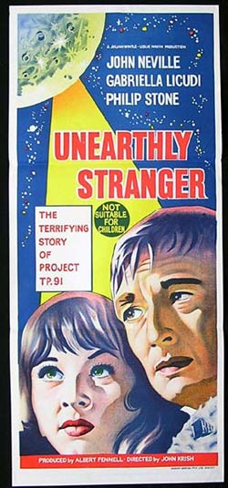 UNEARTHLY STRANGER Daybill Movie Poster 1964 Science Fiction Sci Fi