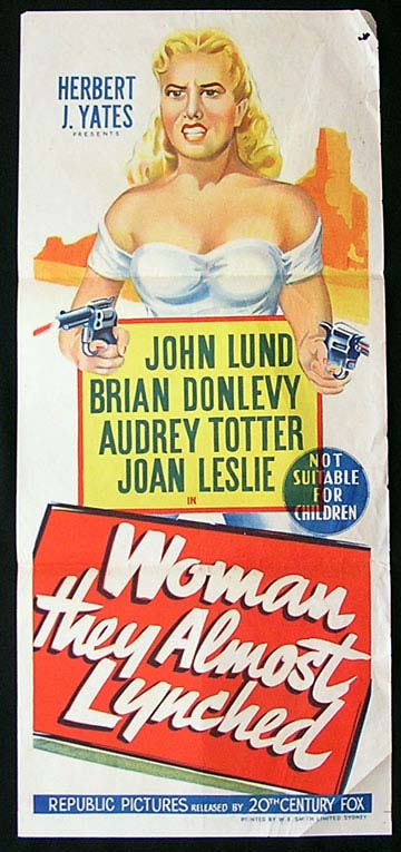 WOMAN THEY ALMOST LYNCHED Daybill Movie Poster 1953 Audrey Totter