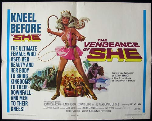 VENGEANCE OF SHE Movie Poster 1968 Hammer Horror RARE US Half Sheet