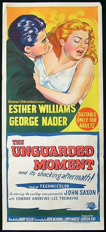 UNGUARDED MOMENT '56 Esther Williams RARE Movie poster
