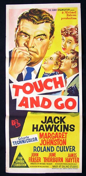 TOUCH AND GO Movie Poster 1955 Jack Hawkins daybill