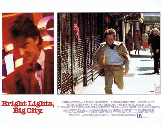 BRIGHT LIGHTS BIG CITY 1988 US Lobby card 2 Michael J.Fox