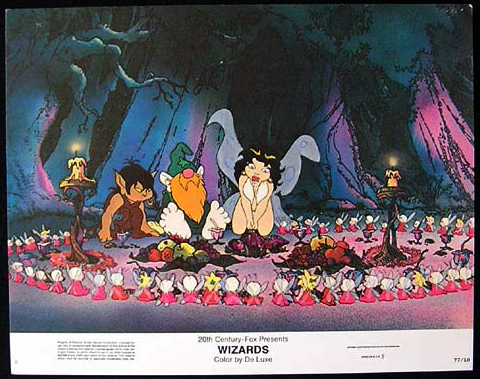 Wizards, Ralph Bakshi, Lobby Card, Movie Poster, Grateful Dead, Animation Film, Jesse Welles, Bob Holt, Richard Romanus, Mark Hamill,fantasy vision of the future,