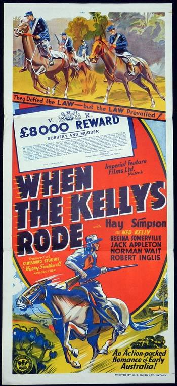 WHEN THE KELLY'S RODE Rare 1940s Australian Daybill Movie Poster Ned Kelly