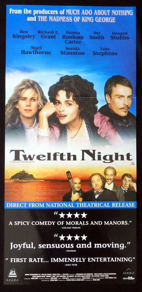 TWELFTH NIGHT Ben Kingsley Richard E.Grant Shakespeare VINTAGE Daybill Movie poster
