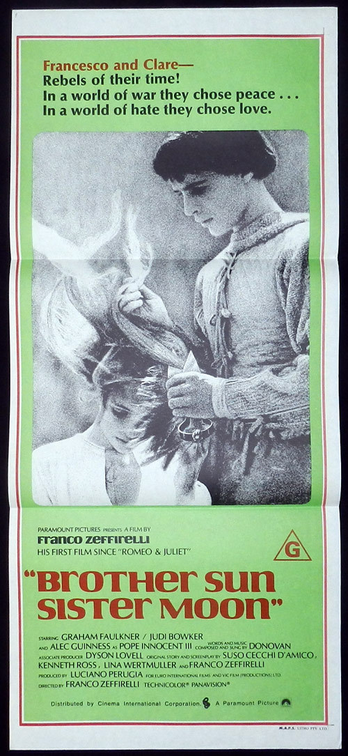 BROTHER SUN SISTER MOON Australian Daybill Movie poster Franco Zeffirelli Alec Guinness as Pope Innocent III