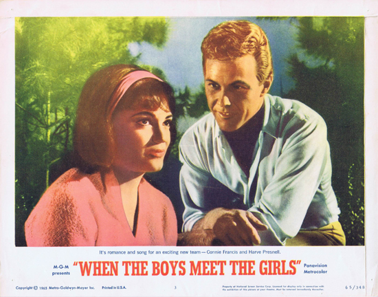 "When the Boys Meet the Girls (released in some English speaking countries as ""I Got Rhythm!""), the 1965 Alvin Ganzer teen rock 'n' roll (rock and roll) musical (""The Boys... The Girls... And That Wild, Way-Out, Wicked, Wonderful Beat!""; ""It makes the old young and the young scream when these song-belting stars and frug-frantic dolls get together in one great big wig-flipping howl of a jamboree!""; ""Everyone's going a-go-go!""; ""Big stars, big hits, big sound, as Gershwin gets sung and swung by the pick of the pack in a yippee ye ye boy-girl carousel!"") starring Connie Francis, Harve Presnell, Sam the Sham and The Pharaohs, Liberace, Louis Armstrong, Sue Ane Langdon, Fred Clark, Frank Faylen, Joby Baker, and Herman's Hermits"