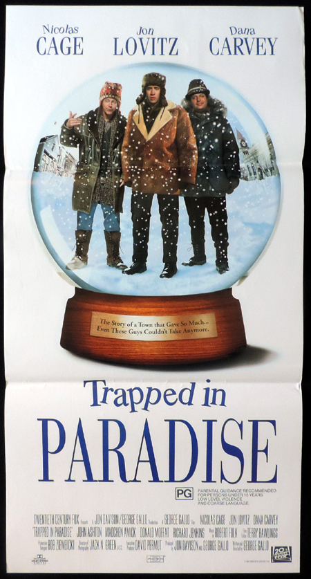 TRAPPED IN PARADISE Nicolas Cage ORIGINAL Daybill Movie poster