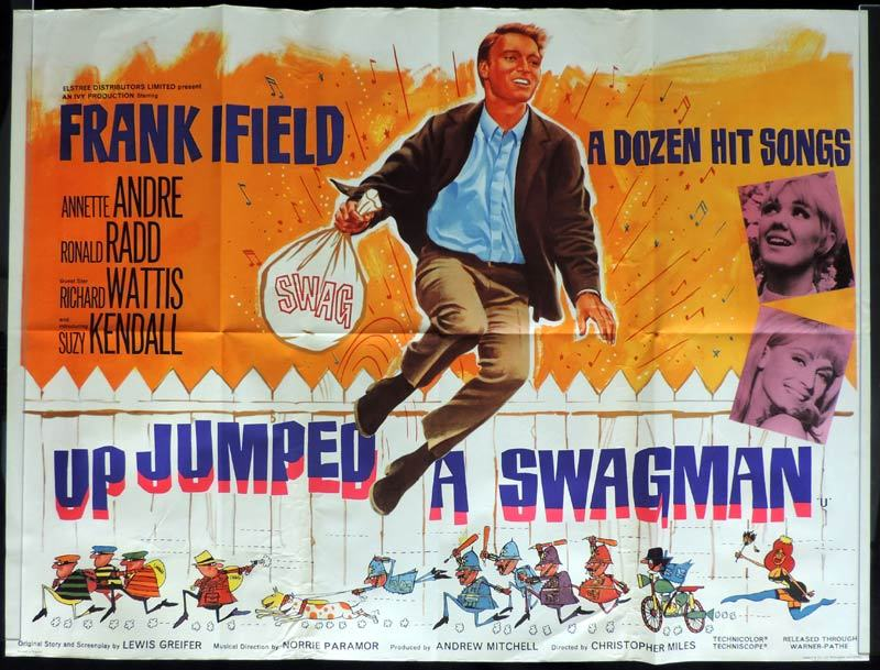UP JUMPED A SWAGMAN British Quad Movie poster Frank Ifield