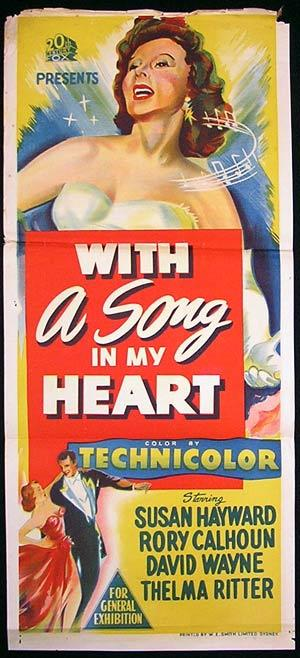 WITH A SONG IN MY HEART Daybill Movie Poster Susan Hayward
