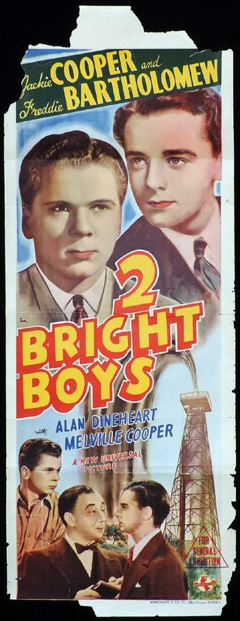 TWO BRIGHT BOYS Long Daybill Movie poster 1939 Jackie Cooper Freddie Bartholomew
