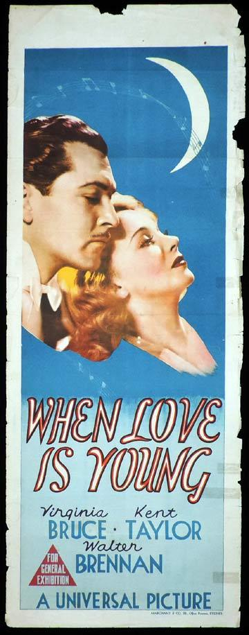 WHEN LOVE IS YOUNG Long Daybill Movie poster 1937 Virginia Bruce Kent Taylor