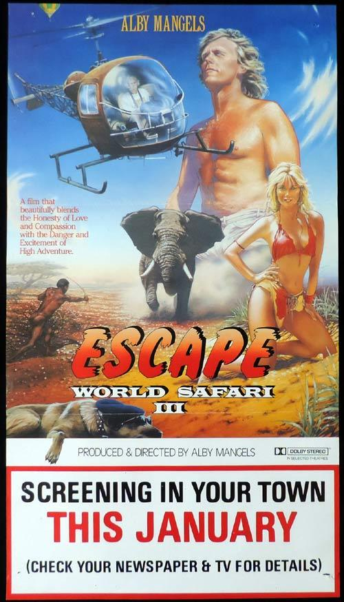 "WORLD SAFARI 3 ESCAPE Daybill Movie poster Alby Mangels AUSTRALIAN FILM ""A"""