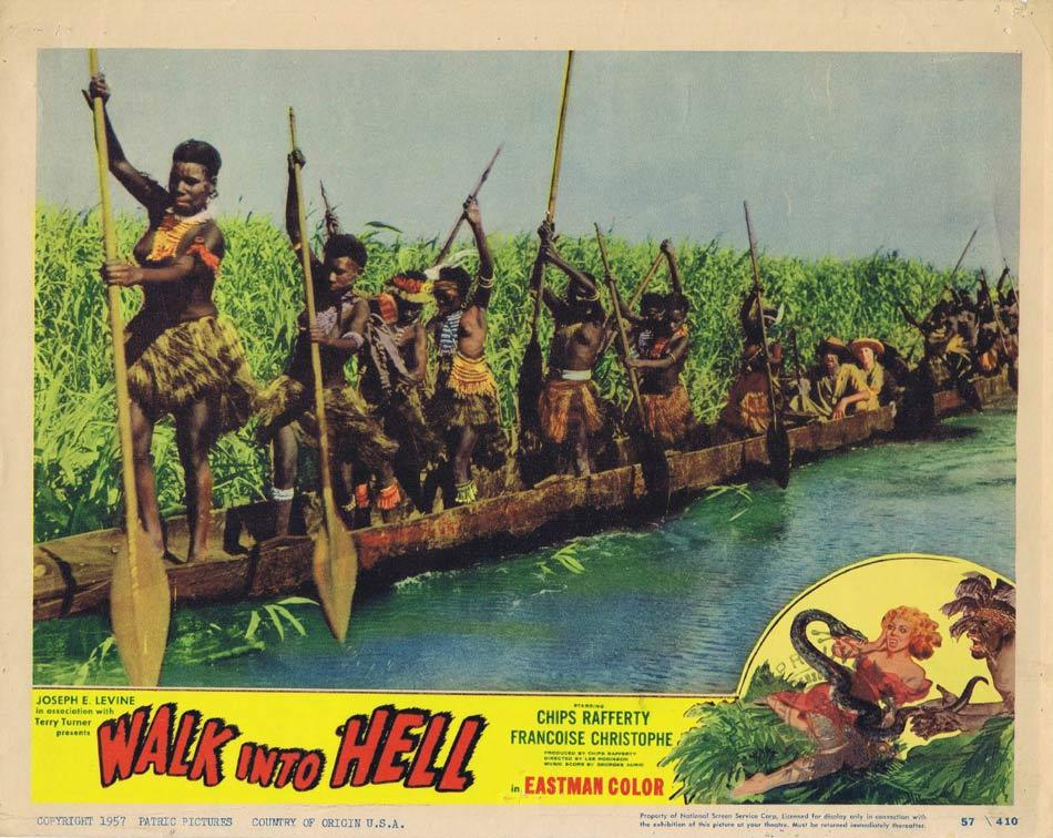 WALK INTO HELL aka WALK INTO PARADISE Lobby Card 1 Qantas Aircraft New Guinea 1956