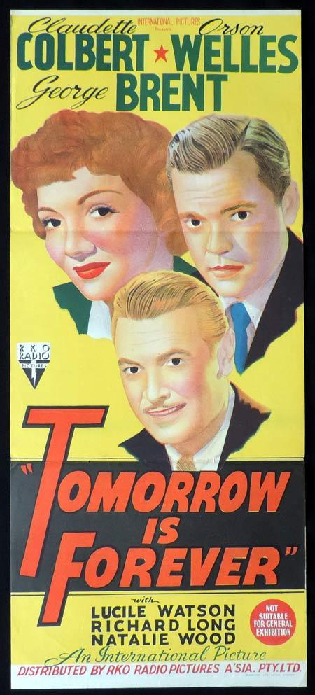TOMORROW IS FOREVER Original Daybill Movie Poster RKO Claudette Colbert