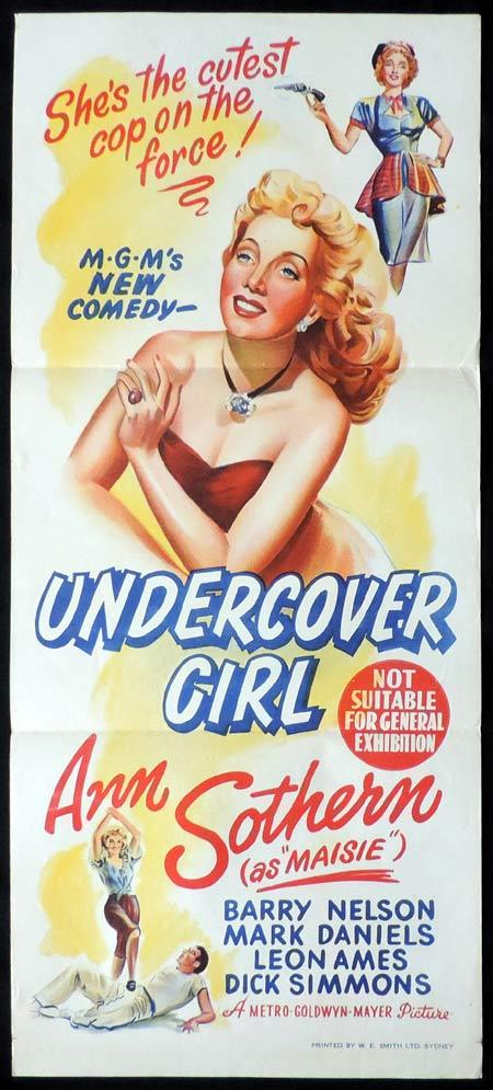 UNDERCOVER GIRL Original Daybill Movie Poster Ann Sothern as Maisie