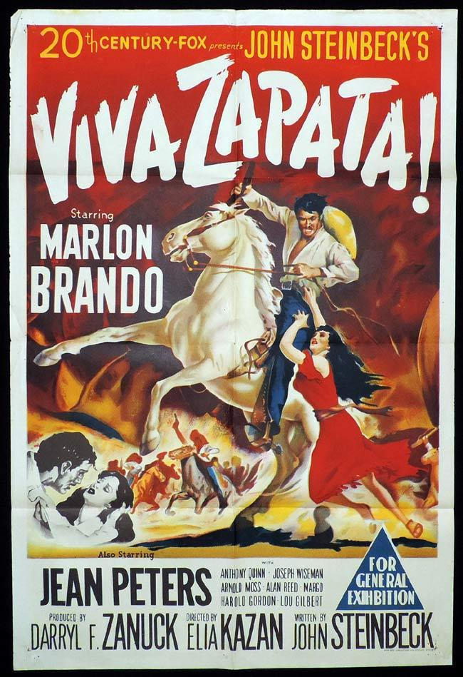 VIVA ZAPATA Original One sheet Movie Poster MARLON BRANDO Jean Peters