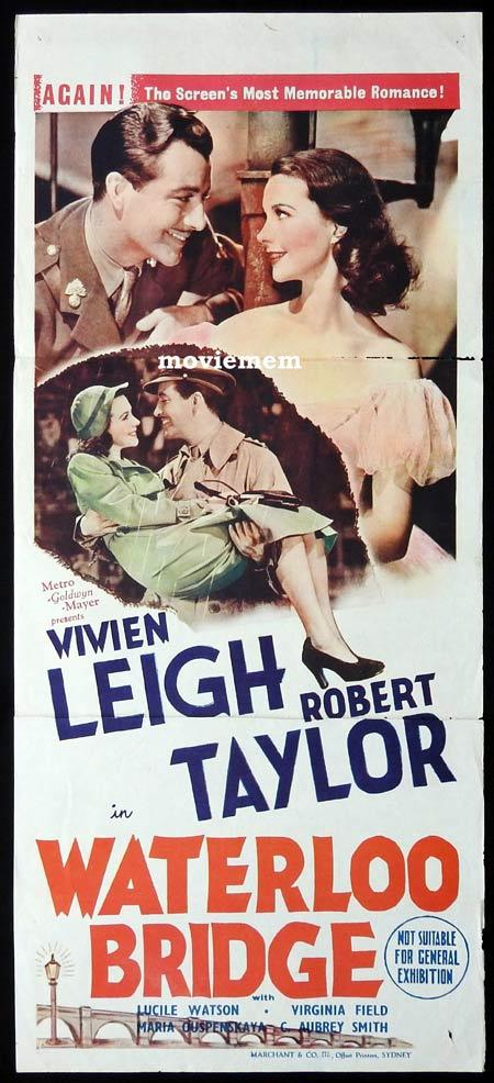 WATERLOO BRIDGE Original 1944r Daybill Movie Poster Robert Taylor Vivien Leigh