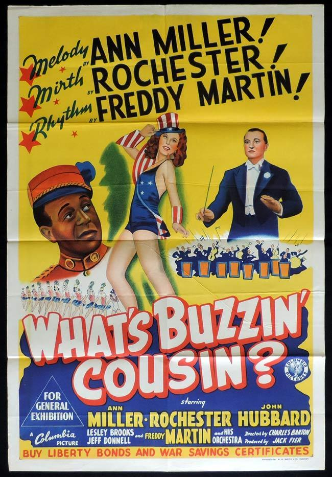 WHAT'S BUZZIN COUSIN Original One sheet Movie Poster ANN MILLER Eddie Rochester Anderson John Hubbard