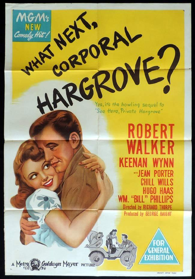 WHAT NEXT CORPORAL HARGROVE Original One sheet Movie Poster Robert Walker Keenan Wynn Jean Porter
