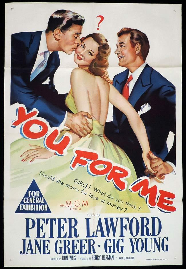 YOU FOR ME, Original One sheet, Movie Poster, PETER LAWFORD, Jane Greer, Gig Young