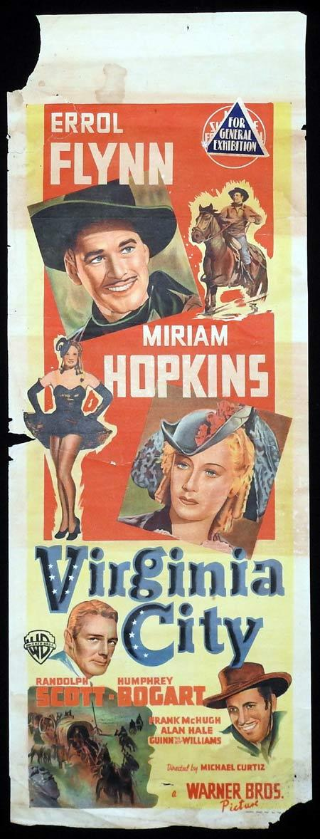 VIRGINIA CITY Long Daybill Movie poster ERROL FLYNN Humphrey Bogart