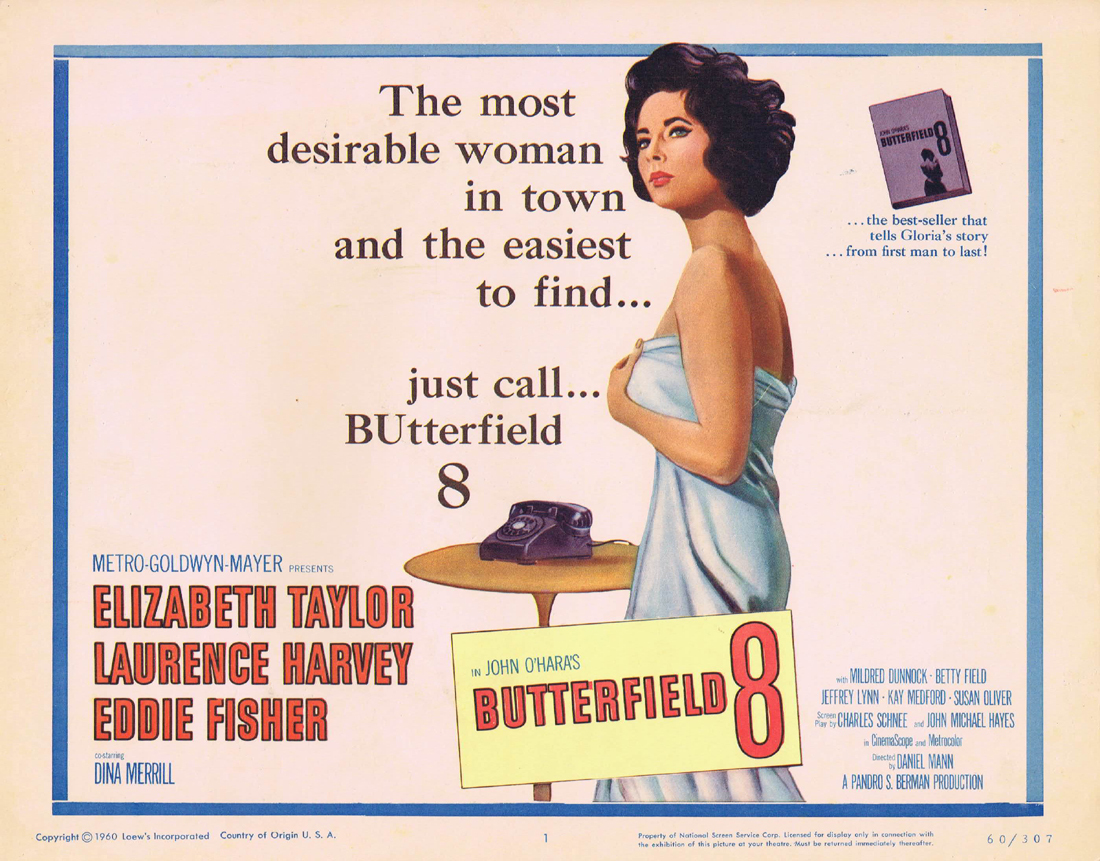 BUTTERFIELD 8 Title Lobby Card Elizabeth Taylor Laurence Harvey