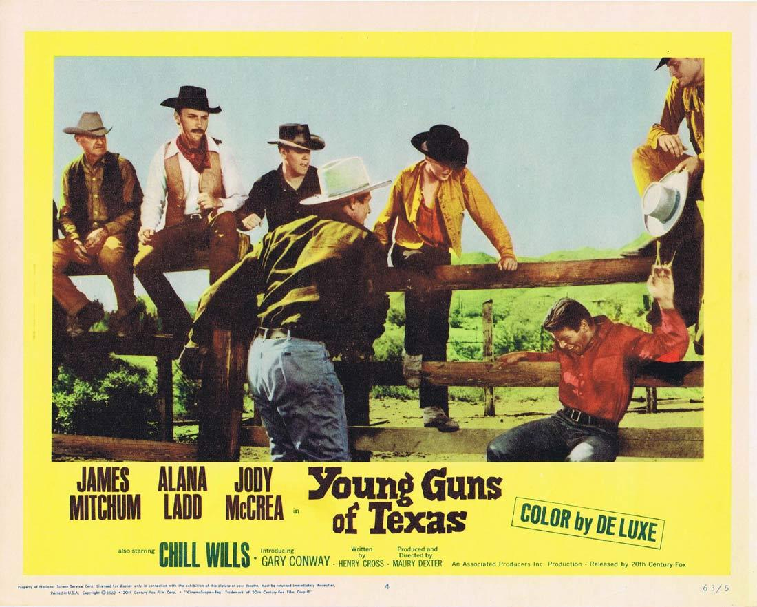 YOUNG GUNS OF TEXAS Lobby Card 4 James Mitchum Alana Ladd Jody McCrea Chill Wills
