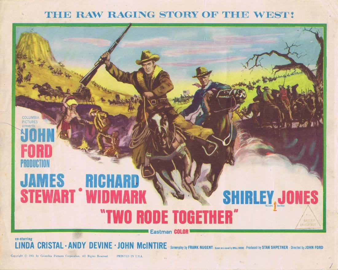 TWO RODE TOGETHER Original Title Lobby Card John Ford James Stewart