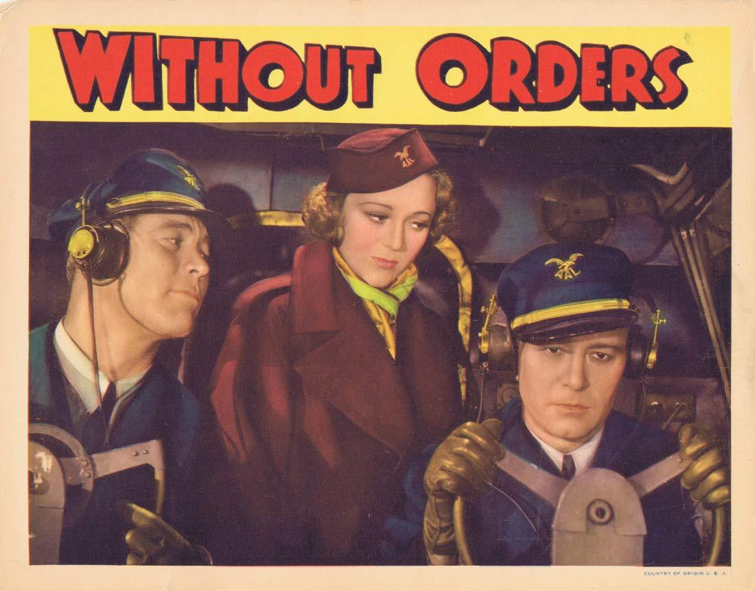 WITHOUT ORDERS Original Lobby Card 3 Sally Eilers Robert Armstrong Frances Sage