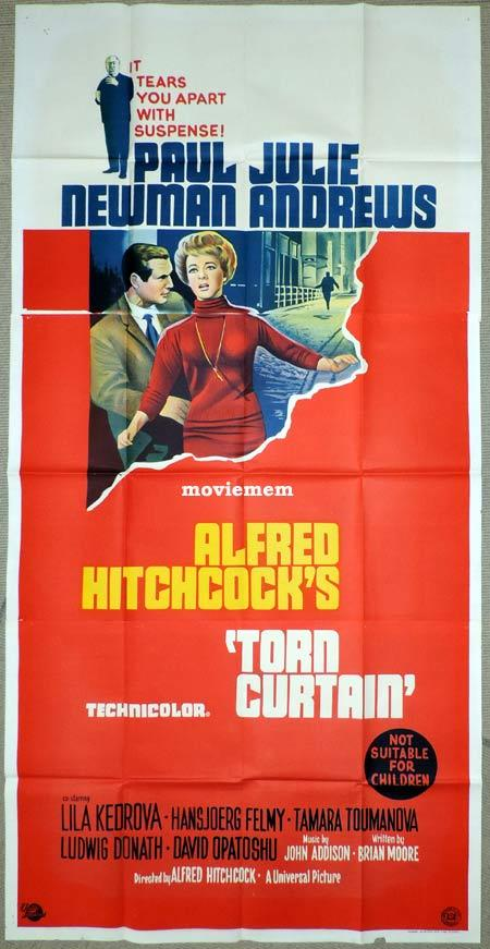 TORN CURTAIN Original 3 Sheet Movie Poster Alfred Hitchcock