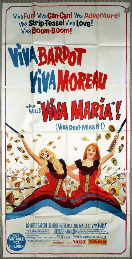 VIVA MARIA Original 3 Sheet Movie Poster Brigitte Bardot Jeanne Moreau