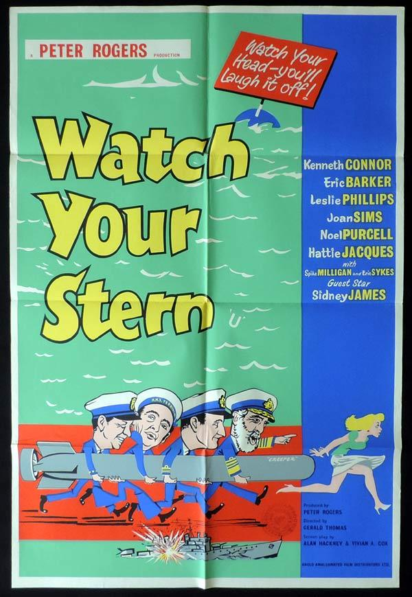WATCH YOUR STERN British One Sheet Movie Poster Kenneth Connor