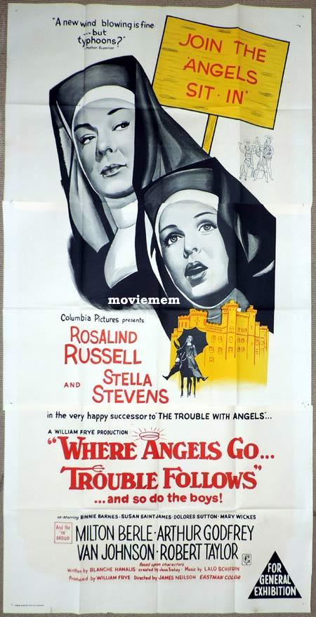 WHERE ANGELS GO TROUBLE FOLLOWS Original 3 Sheet Movie Poster Rosalind Russell
