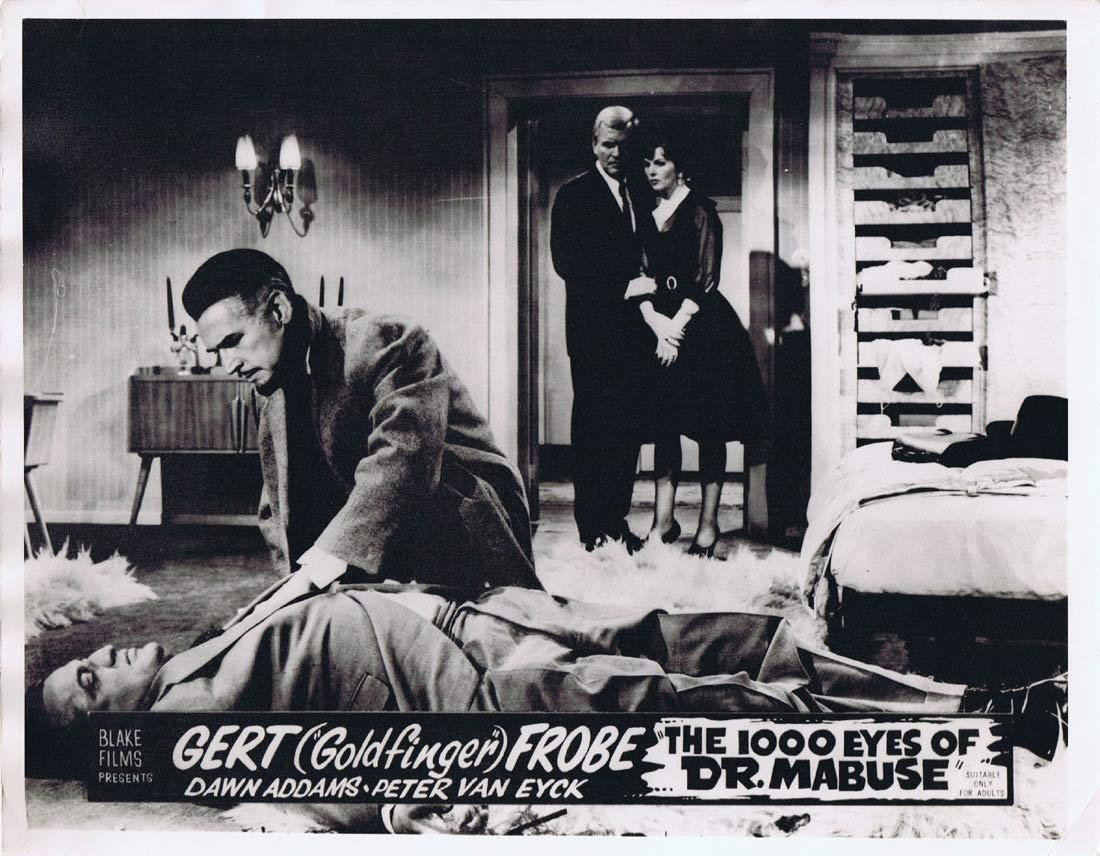 THE 1000 EYES OF DR MABUSE Original Australian Lobby Card 4 Fritz Lang Gert Frobe Peter Van Eyck