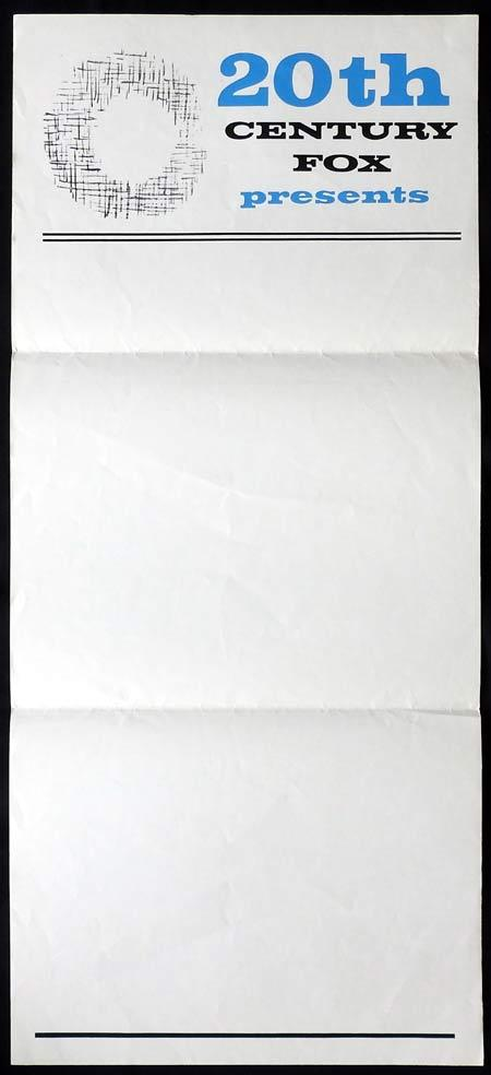20TH CENTURY FOX Stock Blank Daybill Movie poster 1960s
