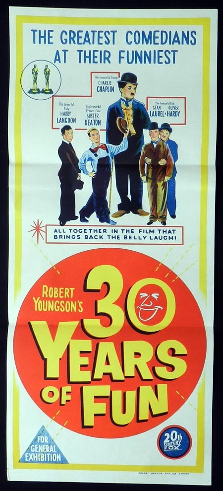 30 YEARS OF FUN, Original Daybill, Movie Poster, Laurel and Hardy, Buster Keaton