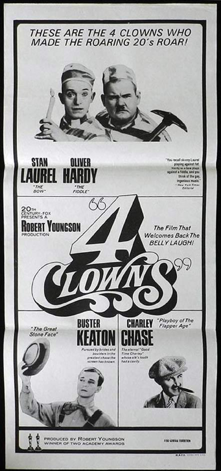 THE 4 CLOWNS Daybill Movie Poster Laurel and Hardy