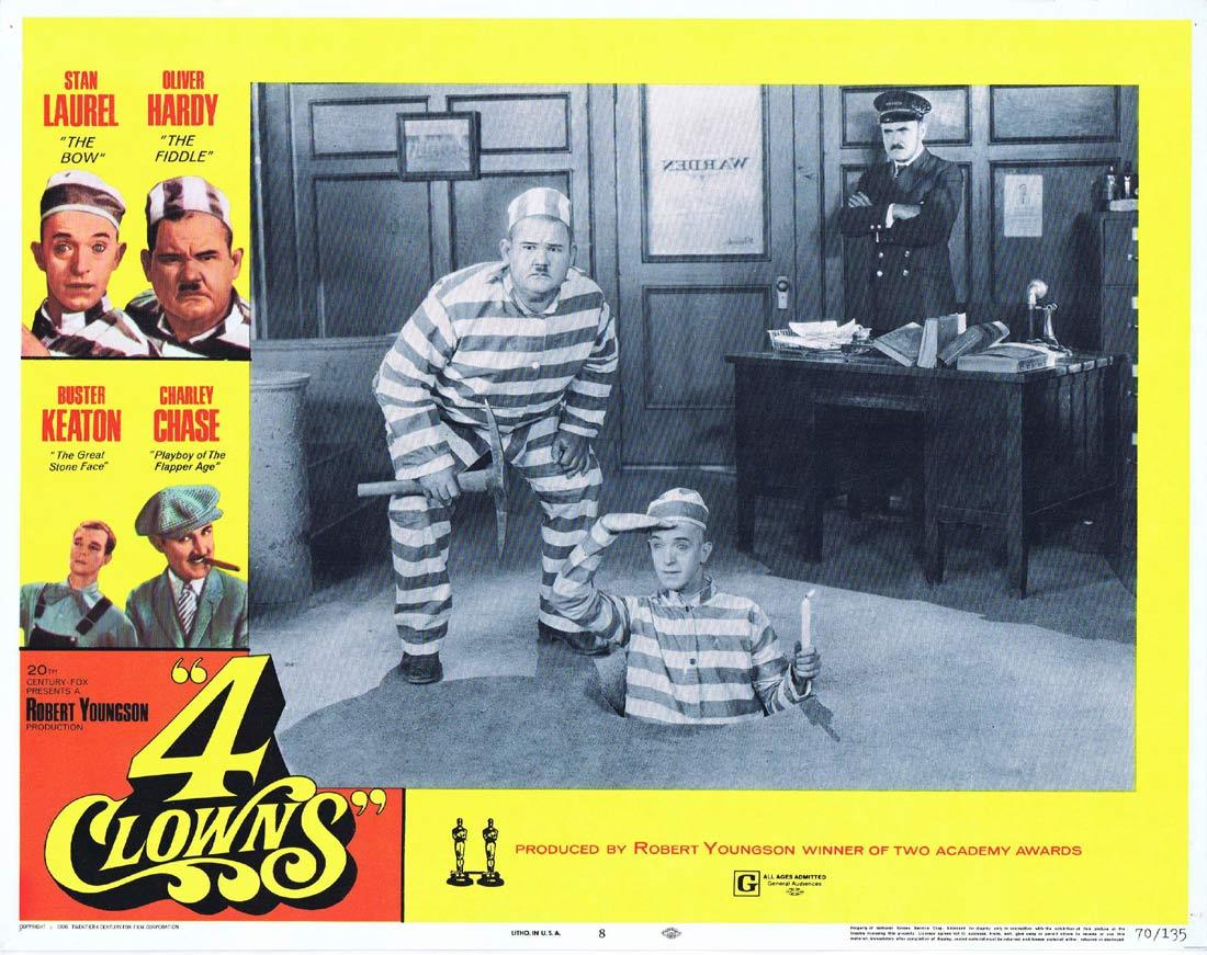 4 CLOWNS Lobby Card 8 Laurel and Hardy Charley Chase