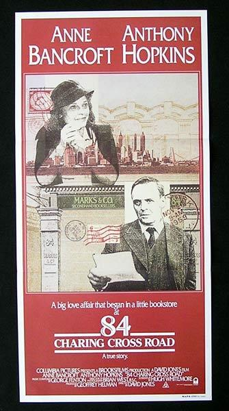 84 CHARING CROSS ROAD Original Daybill Movie Poster Anthony Hopkins Anne Bancroft