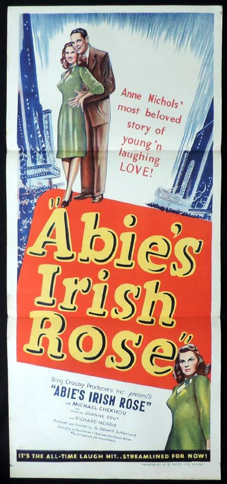 ABIE'S IRISH ROSE Original Daybill Movie Poster Michael Chekhov Joanne Dru