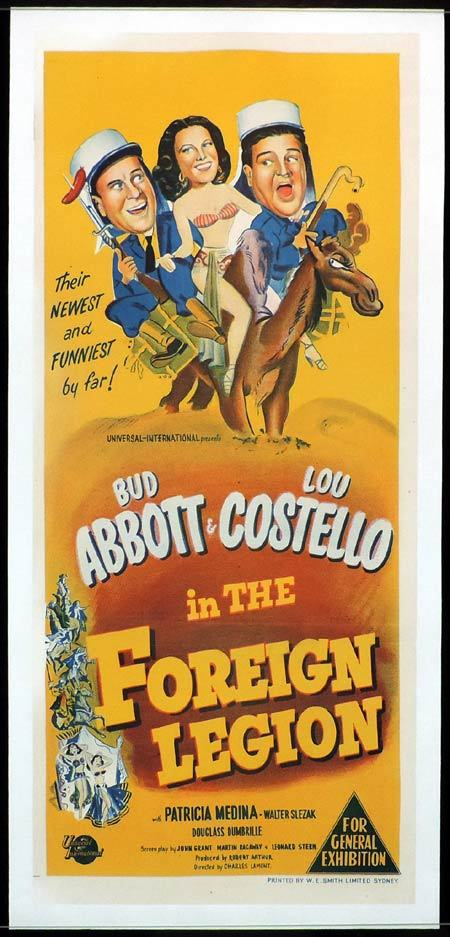 ABBOTT AND COSTELLO IN THE FOREIGN LEGION Daybill Movie poster 1951 Linen Backed
