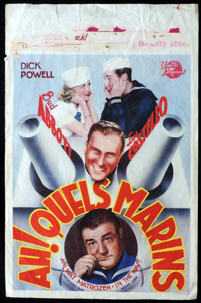 IN THE NAVY Original Belgian Movie poster Abbott and Costello