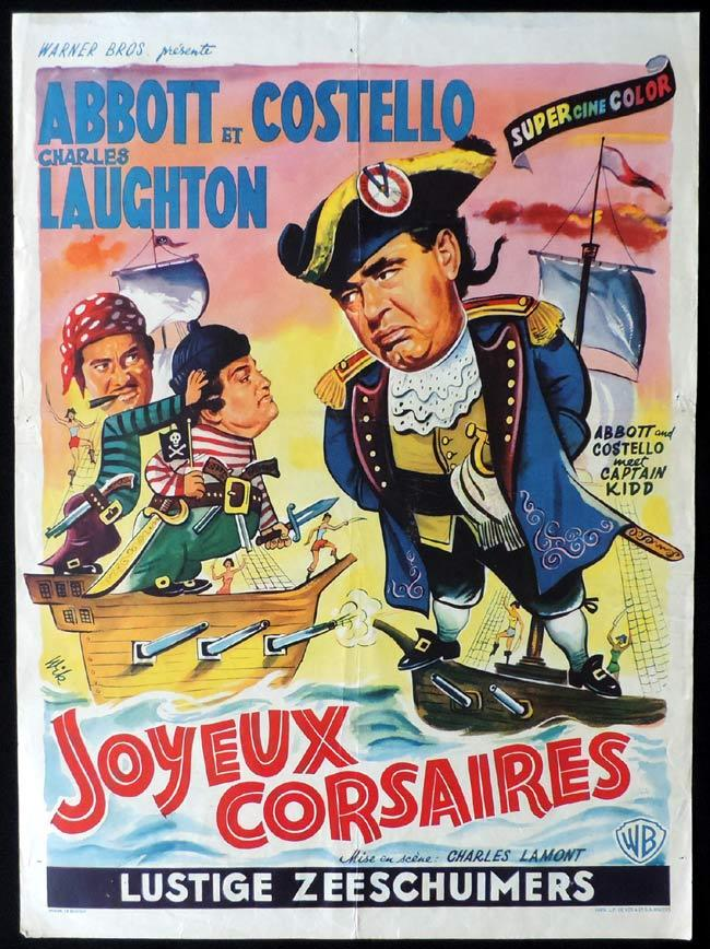 ABBOTT AND COSTELLO MEET CAPTAIN KIDD Original Belgian Movie poster