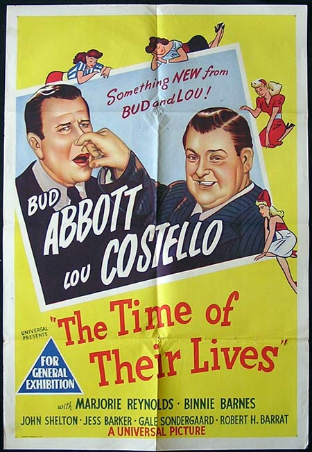 THE TIME OF THEIR LIVES 1946 Vintage ORIGINAL Movie poster Abbott and Costello