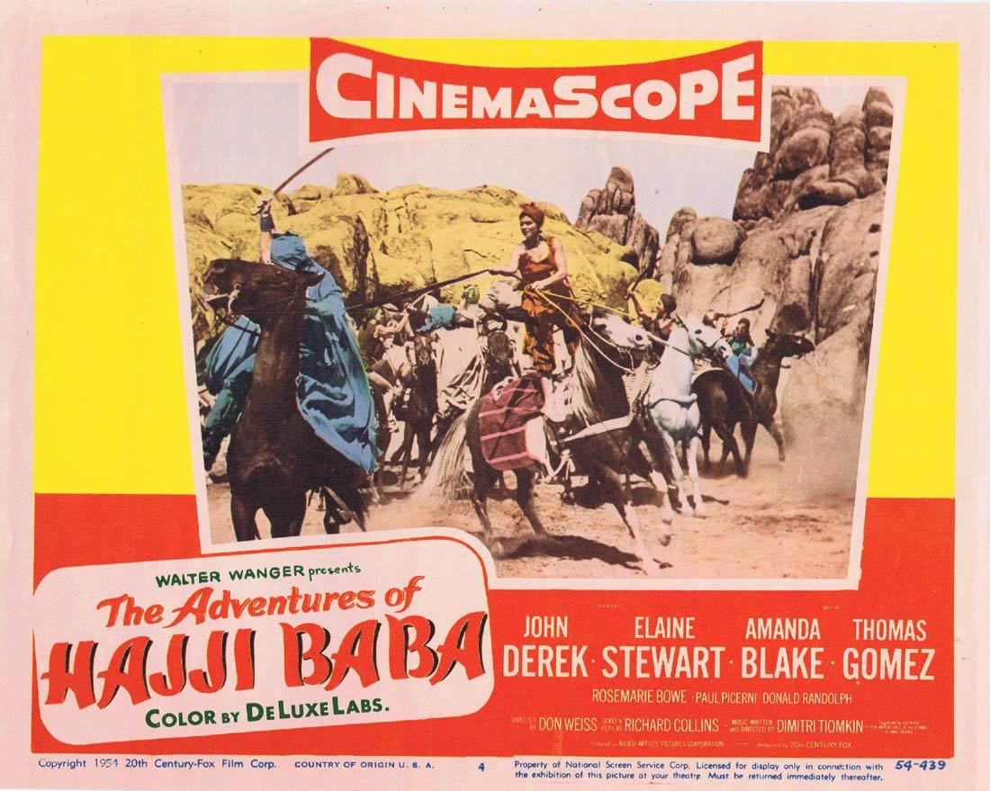 THE ADVENTURES OF HAJI BABA Original Lobby Card 4 John Derek Elaine Stewart Thomas Gomez