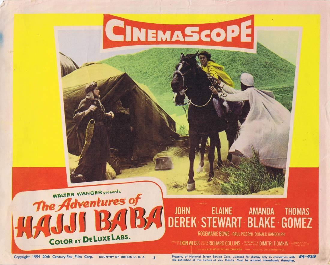 THE ADVENTURES OF HAJI BABA Lobby Card 3 John Derek Elaine Stewart Thomas Gomez